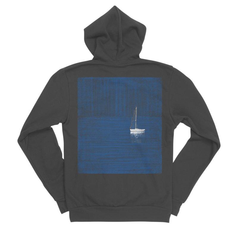 Pure Blue (re-textured) Men's Sponge Fleece Zip-Up Hoody by bulo