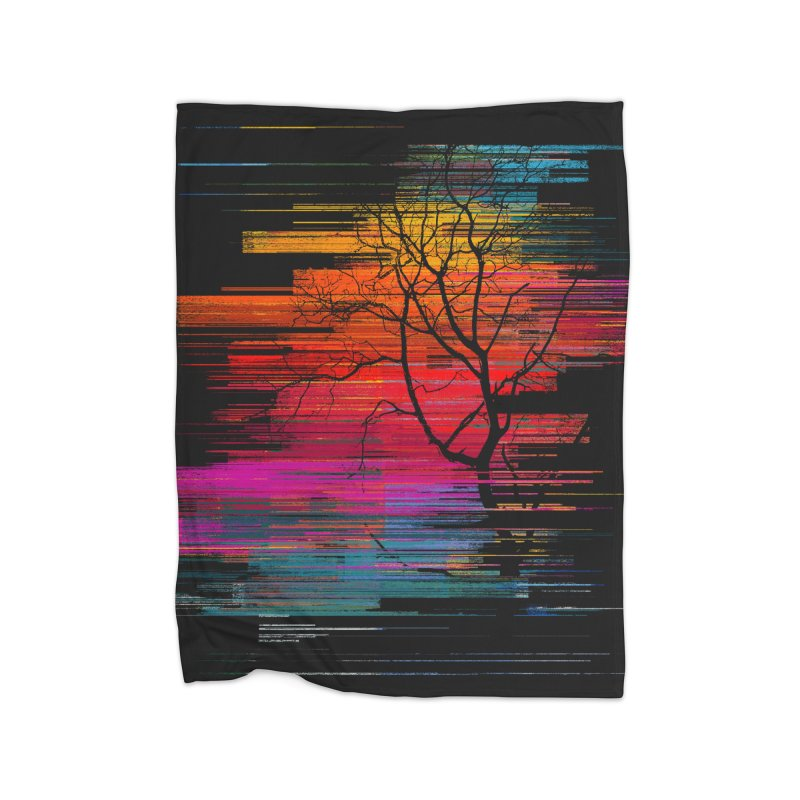 Sunset Fusion (lone tree version) Home Fleece Blanket Blanket by bulo