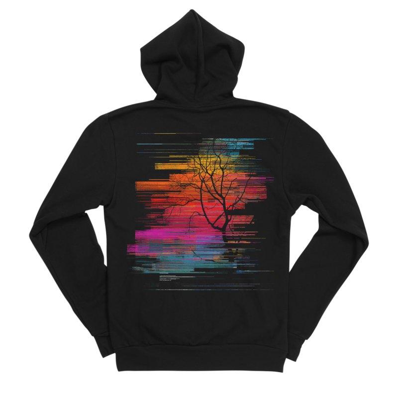 Sunset Fusion (lone tree version) Men's Sponge Fleece Zip-Up Hoody by bulo
