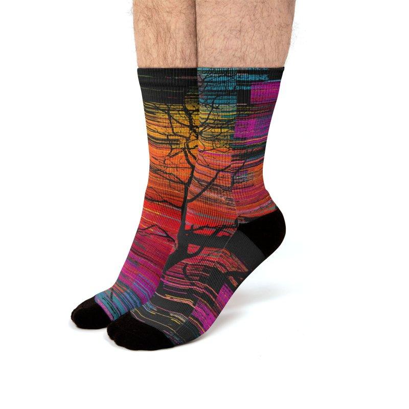Sunset Fusion (lone tree version) Men's Socks by bulo