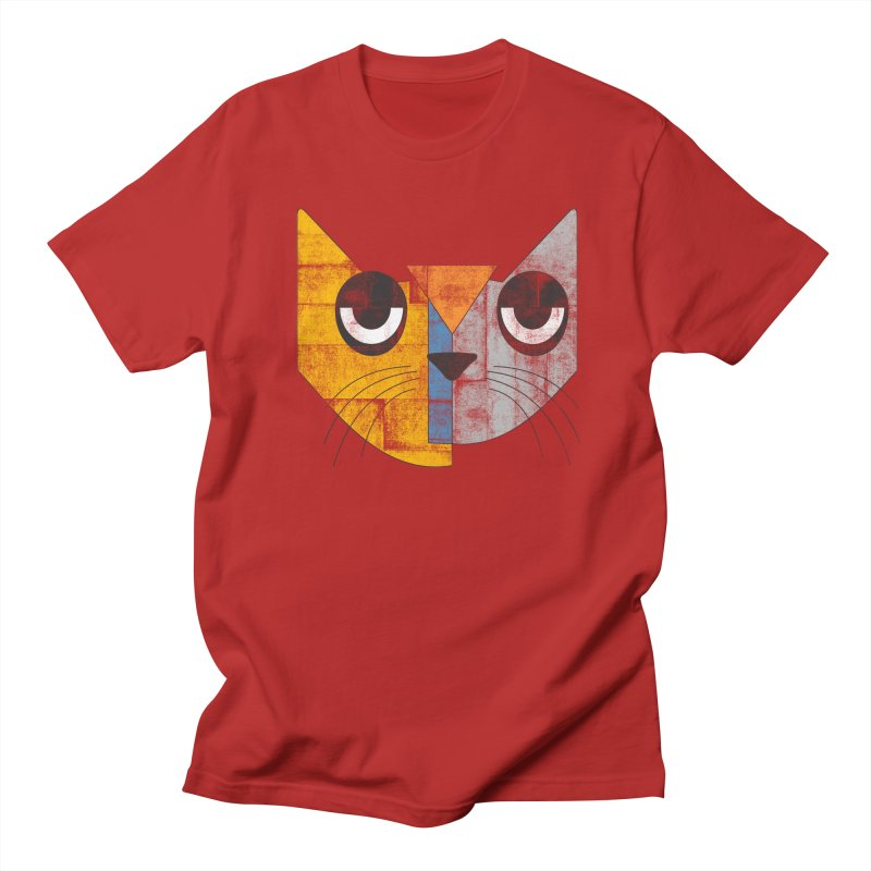 Cubicat Tired in Men's T-shirt Red by bulo