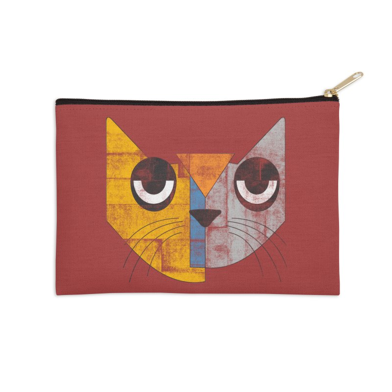Cubicat Tired Accessories Zip Pouch by bulo
