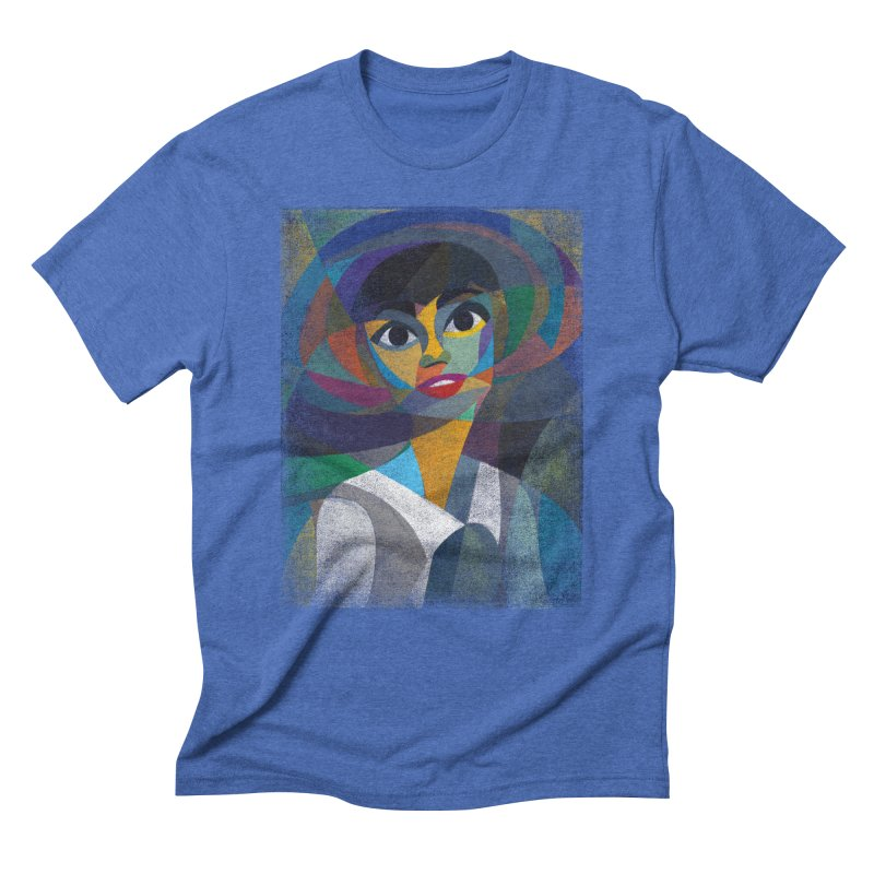 Audrey in Men's Triblend T-shirt Blue Triblend by bulo