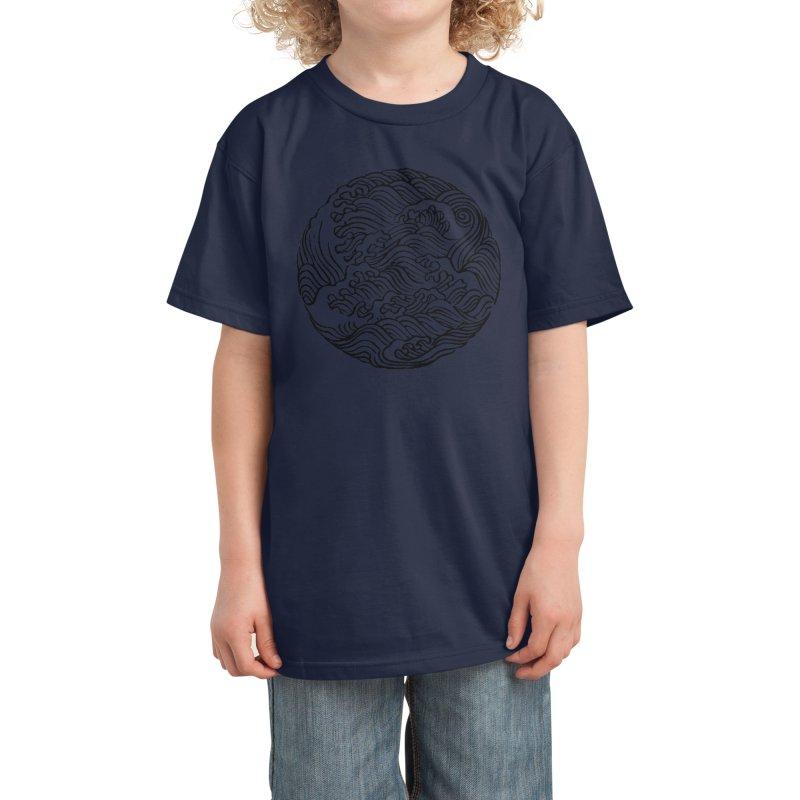 Ha Bun Shu Waves Refined Kids T-Shirt by bulo