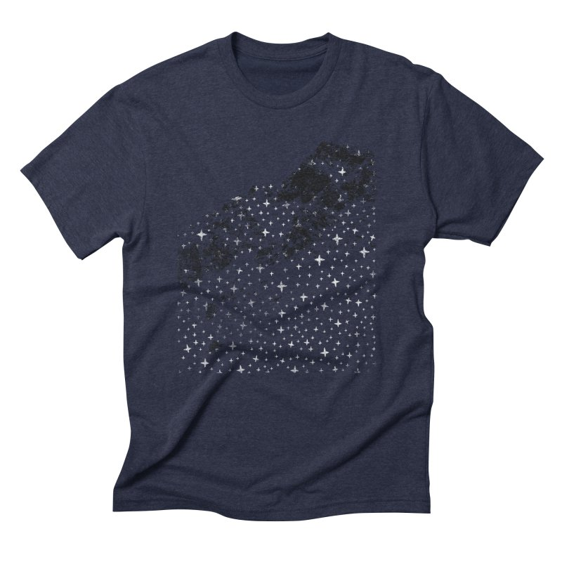Starry Mountain in Men's Triblend T-Shirt Navy by bulo