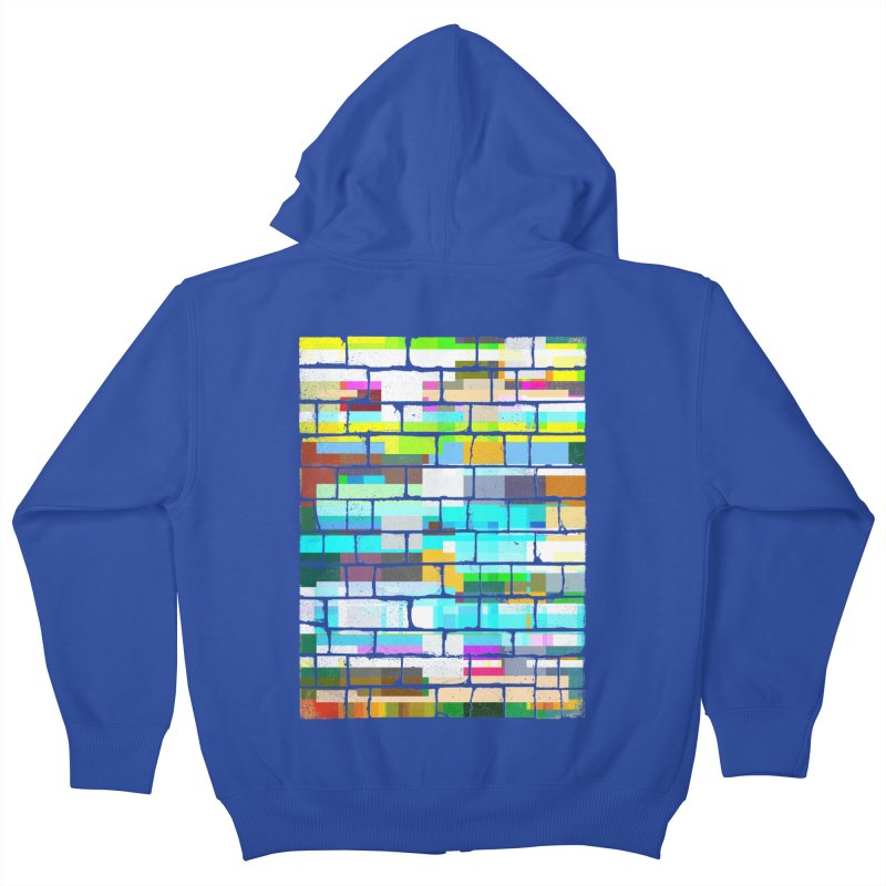 Glitchy Wall Kids Zip-Up Hoody by bulo