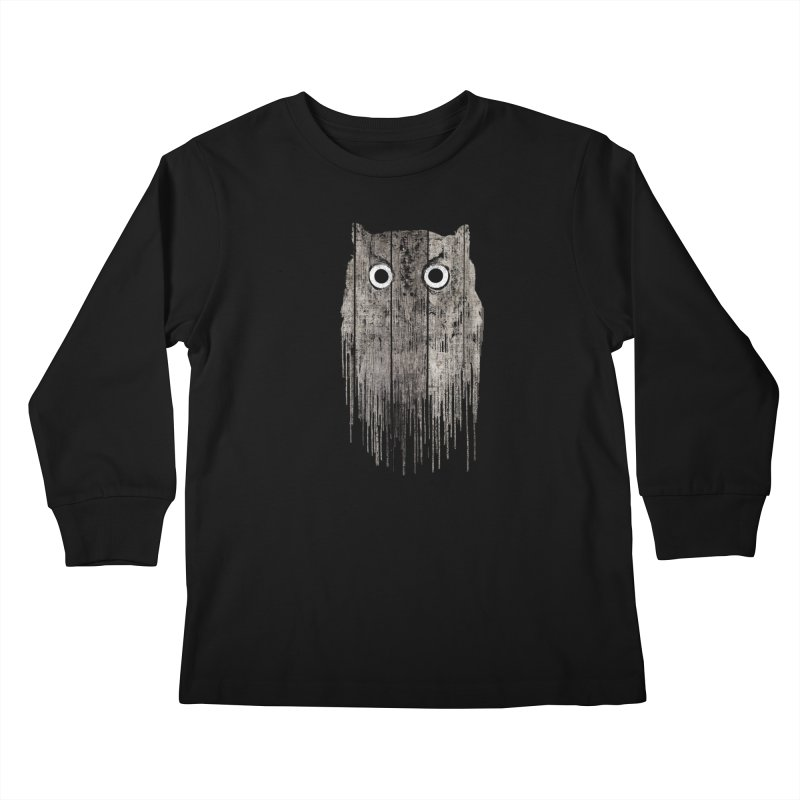 Wooden Owl Kids Longsleeve T-Shirt by bulo