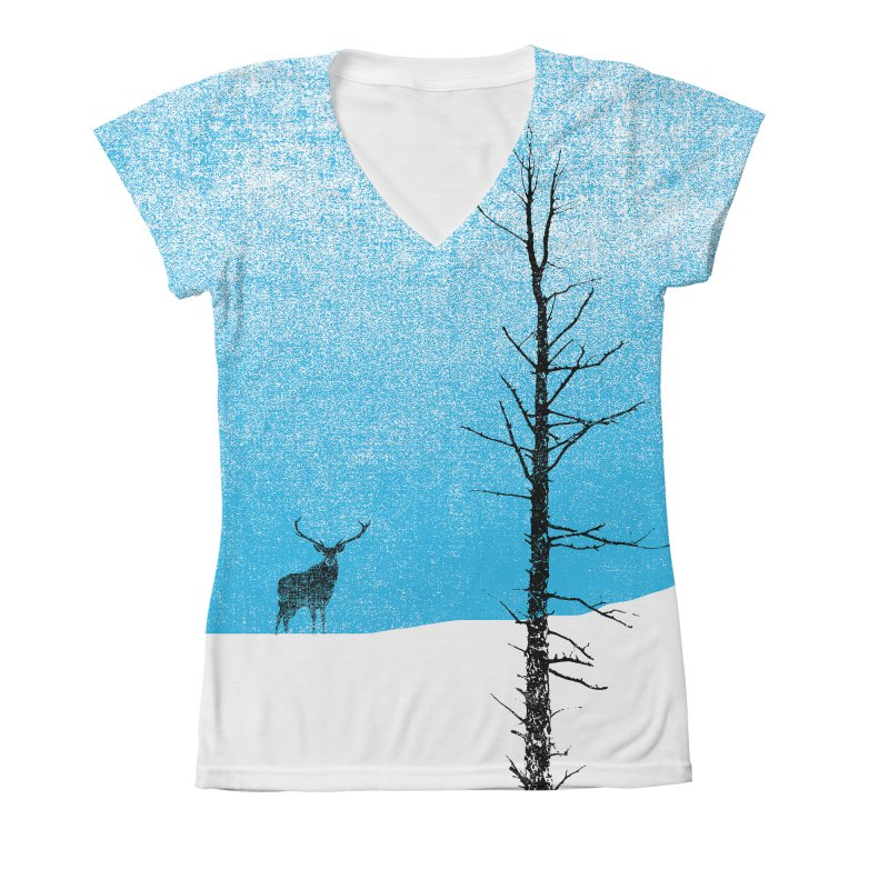 Lonely Tree Women's V-Neck All Over Print by bulo