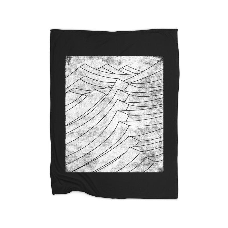 Isometric Waves (bw version) Home Fleece Blanket by bulo