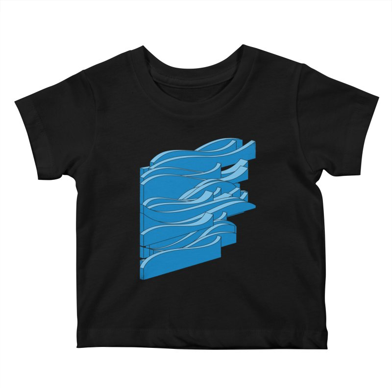 Isometric Waves Kids Baby T-Shirt by bulo