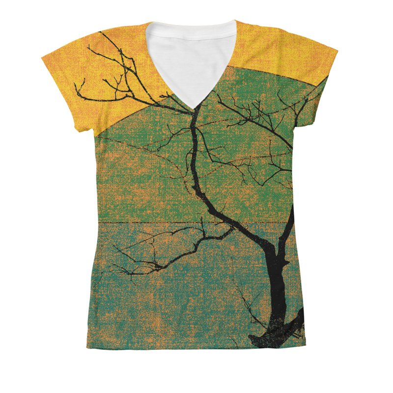 Lone Tree (rework) Women's V-Neck All Over Print by bulo