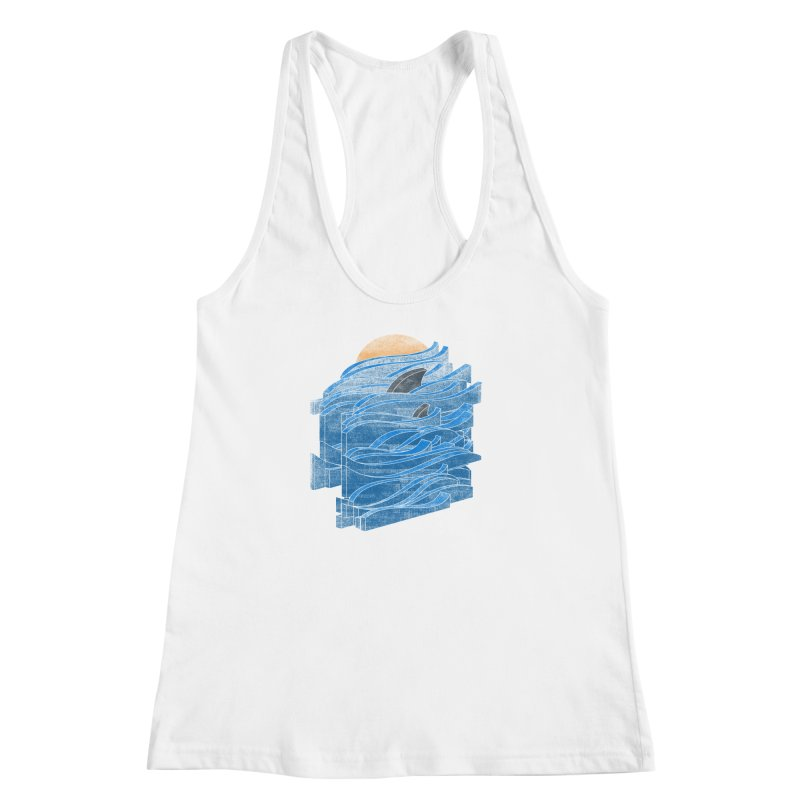 Shark Blues Women's Racerback Tank by bulo