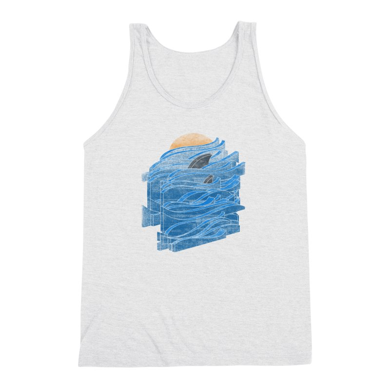 Shark Blues Men's Triblend Tank by bulo