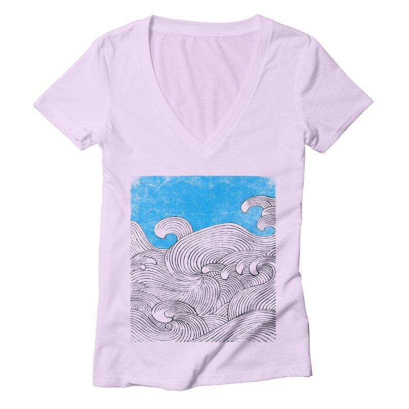 Waves Women's Deep V-Neck V-Neck by bulo