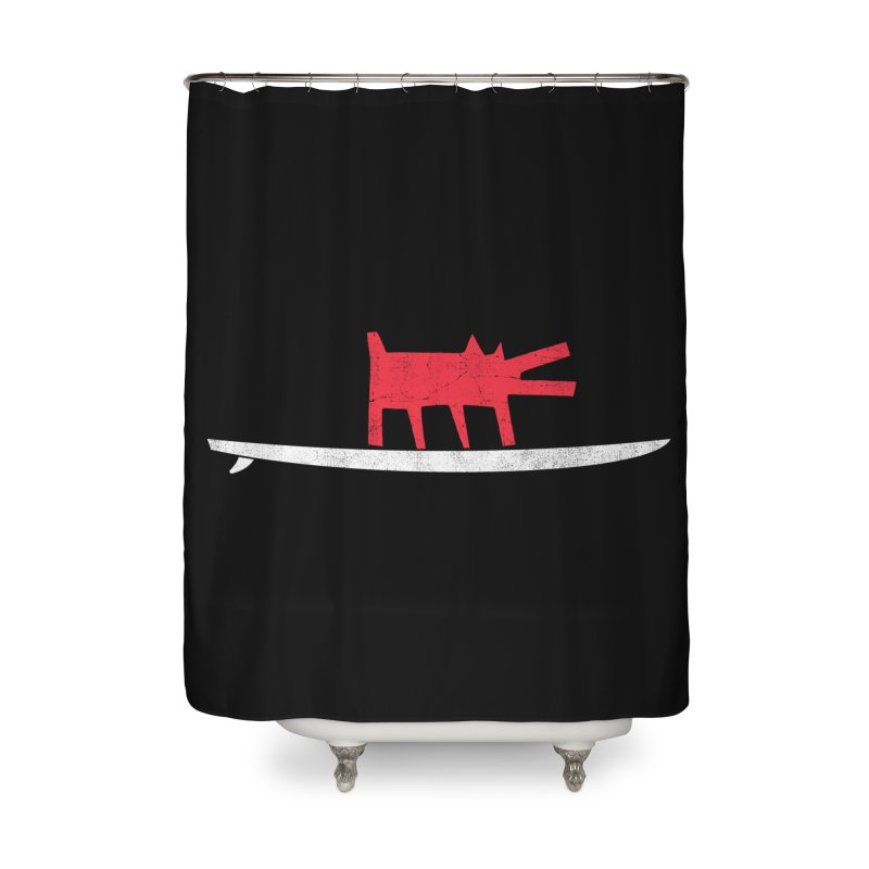 Funboard (Haring's Dog Version) Home Shower Curtain by bulo