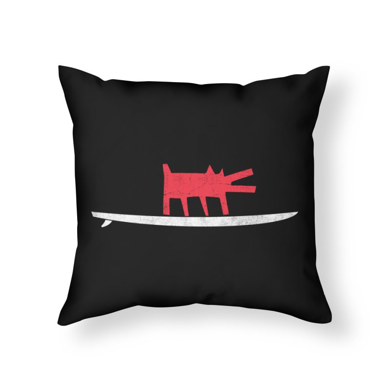Funboard (Haring's Dog Version) Home Throw Pillow by bulo