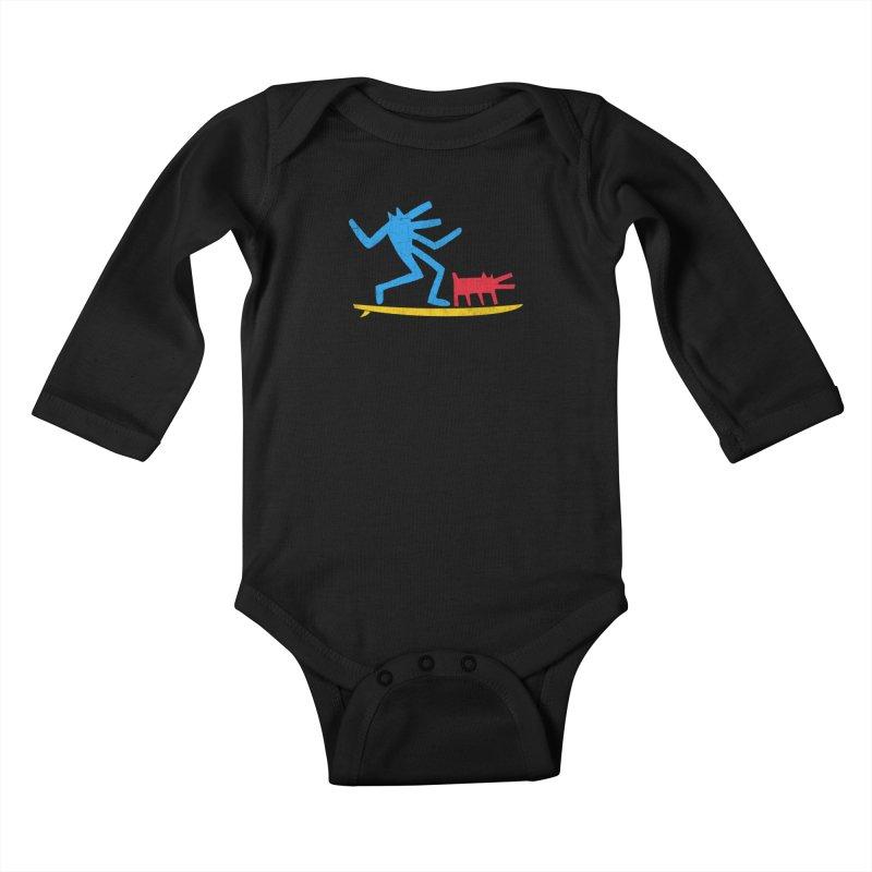 Funboard (primary colors version) Kids Baby Longsleeve Bodysuit by bulo