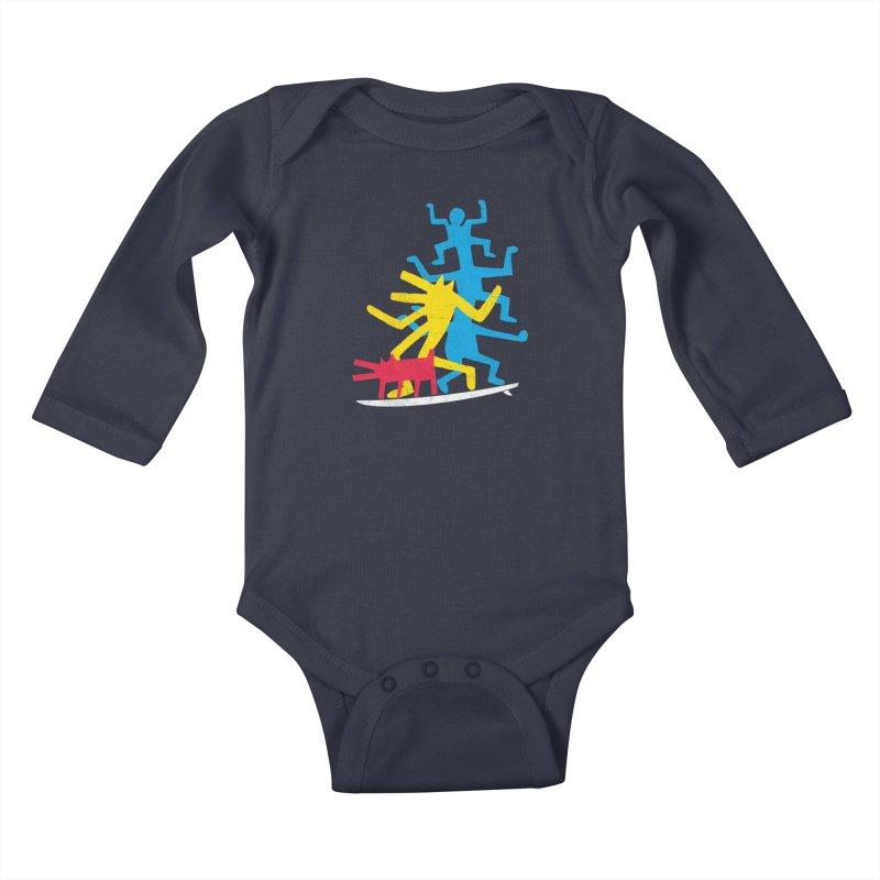 Funboard (threesome version) Kids Baby Longsleeve Bodysuit by bulo