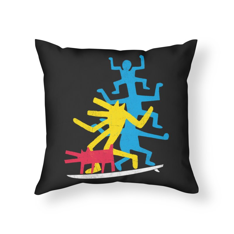 Funboard (threesome version) Home Throw Pillow by bulo
