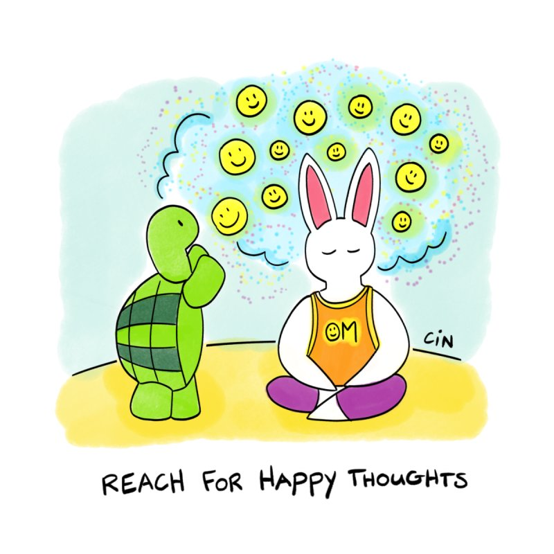 Bunny Daze Yoga - Reach For Happy Thoughts by Bunny Daze's Artist Shop