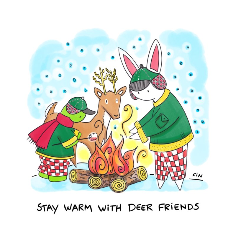 Bunny Daze Happiness - Stay warm with deer friends by Bunny Daze's Artist Shop