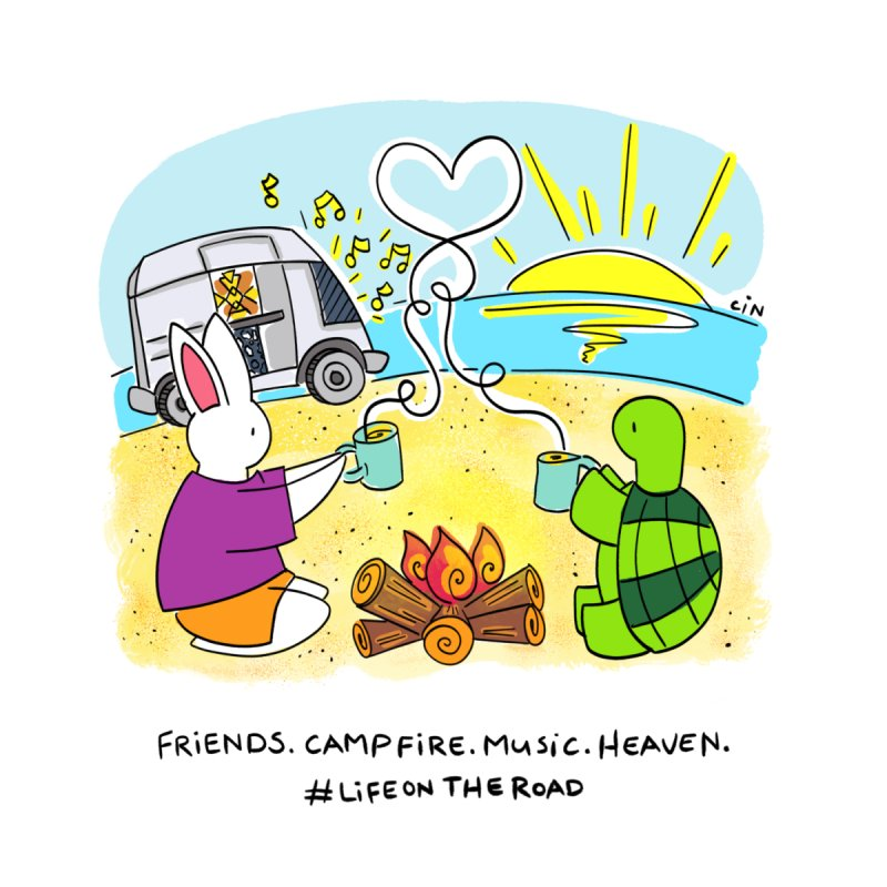 Bunny Daze Happiness - Friends. Campfire. Music. Heaven. #LifeOnTheRoad by Bunny Daze's Artist Shop