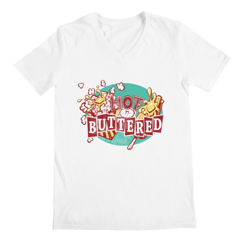Hot n' Buttered Men's V-Neck by Bunny Robot Art