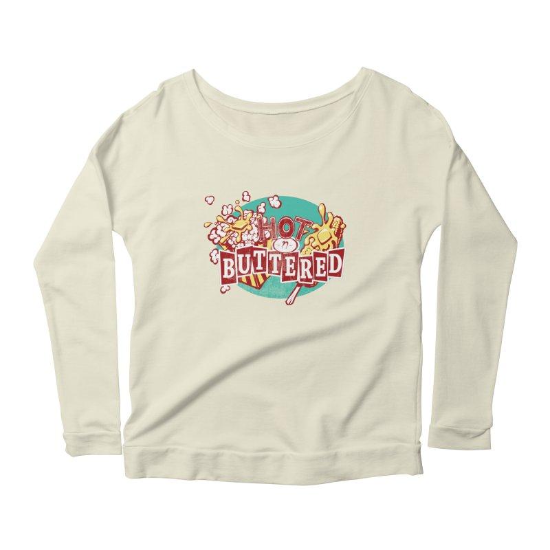 Hot n' Buttered Women's Scoop Neck Longsleeve T-Shirt by Bunny Robot Art