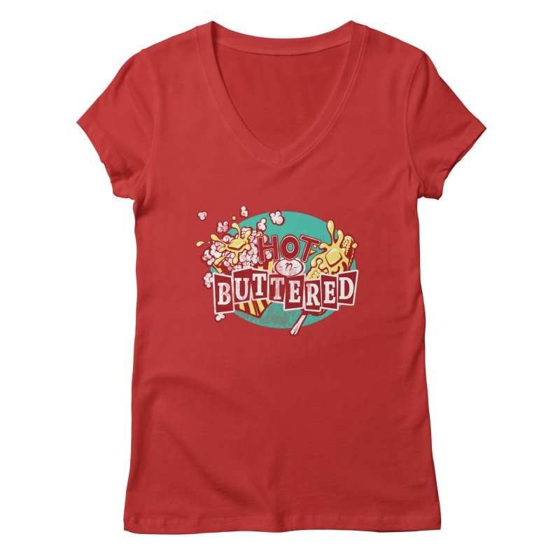Hot n' Buttered Women's V-Neck by Bunny Robot Art