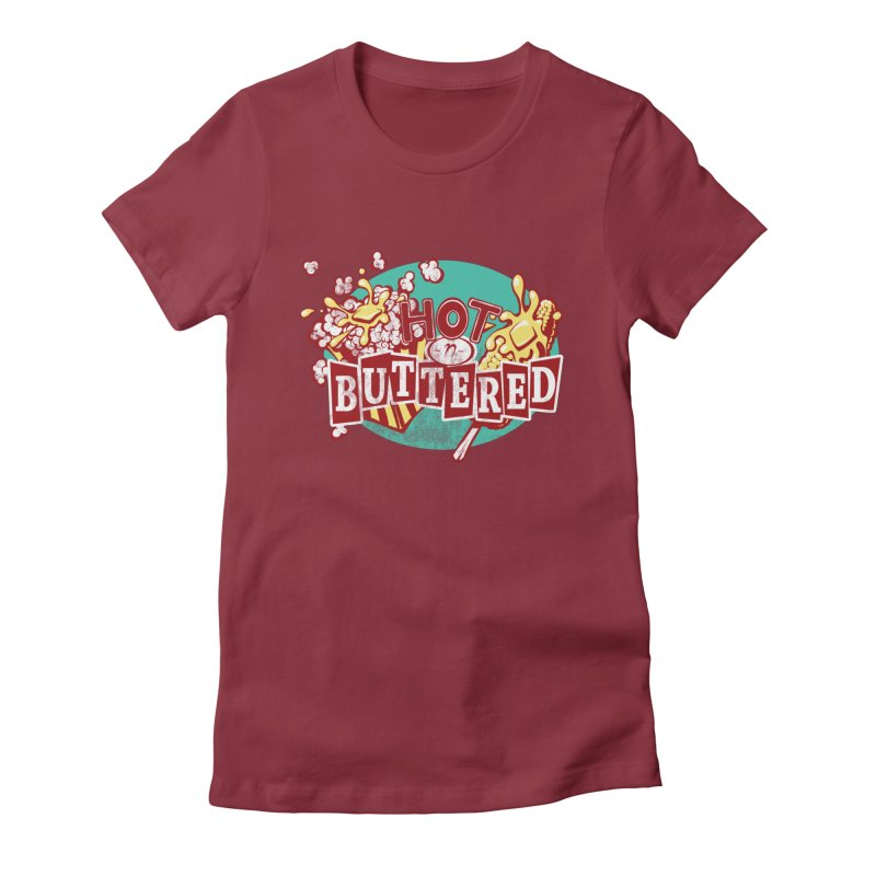 Hot n' Buttered Women's Fitted T-Shirt by Bunny Robot Art