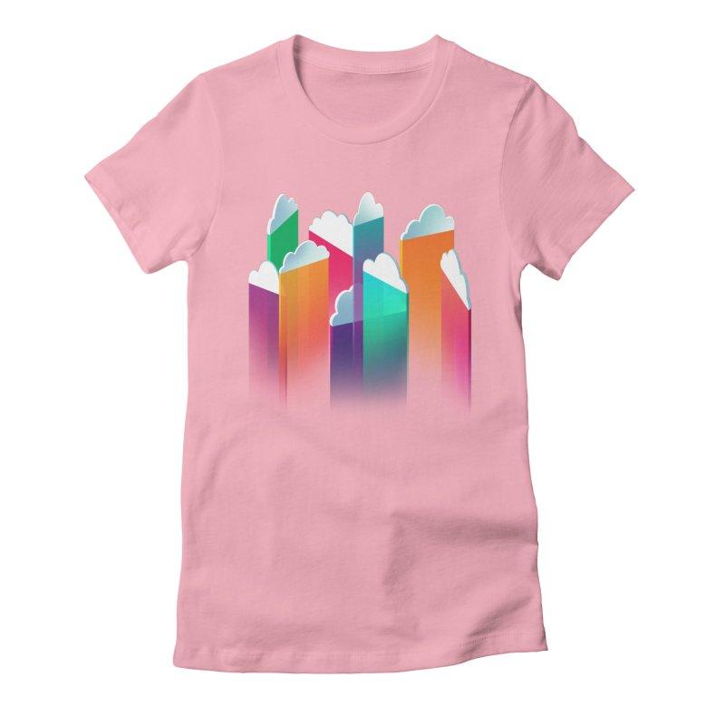 Light Rain Women's Fitted T-Shirt by Bunny Robot Art