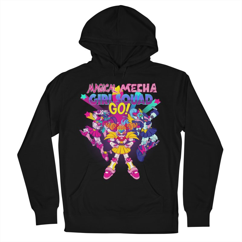 Magical Mecha Girl Squad Go! Women's French Terry Pullover Hoody by Bunny Robot Art