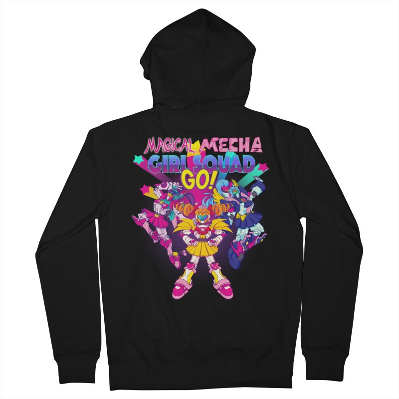 Magical Mecha Girl Squad Go! Men's Zip-Up Hoody by Bunny Robot Art