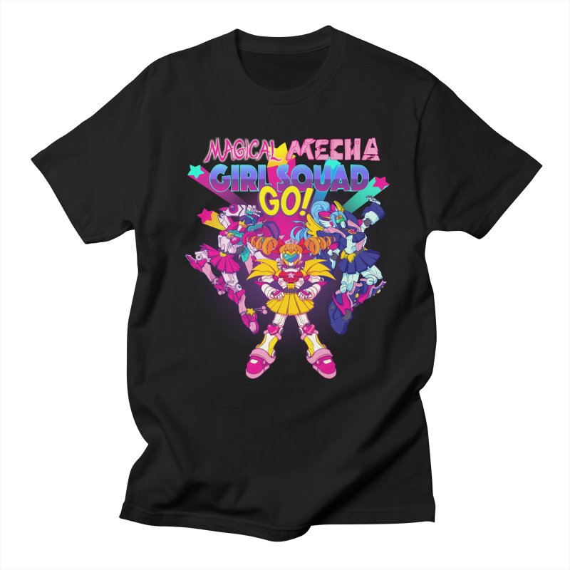Magical Mecha Girl Squad Go! Men's T-shirt by Bunny Robot Art