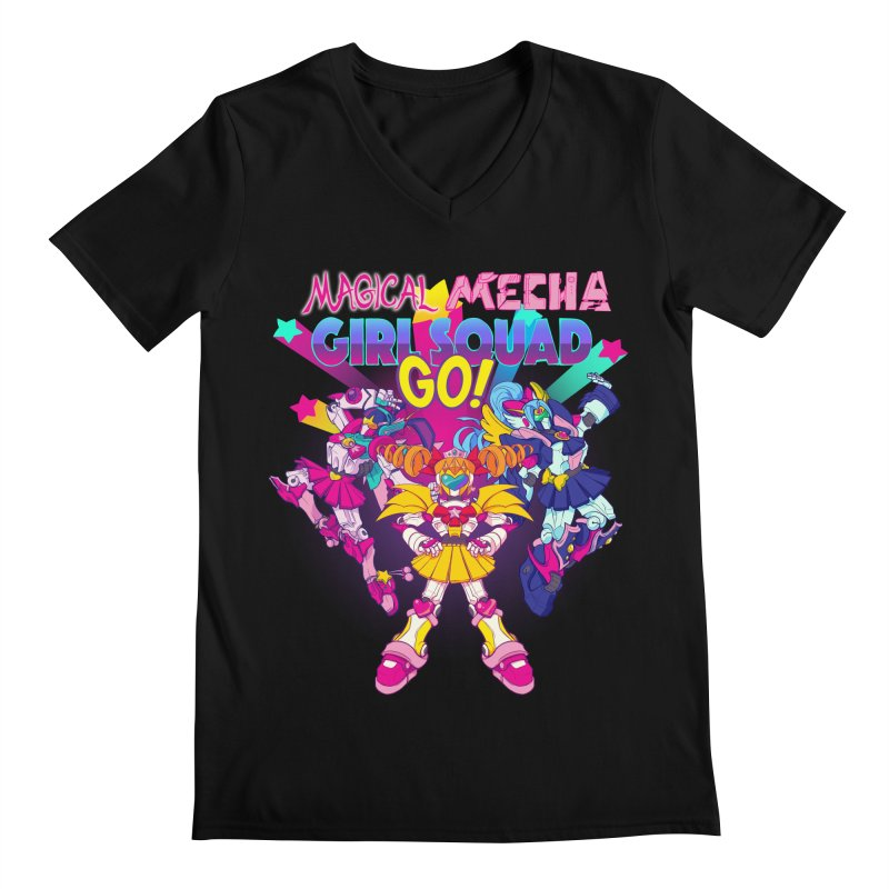 Magical Mecha Girl Squad Go! Men's V-Neck by Bunny Robot Art