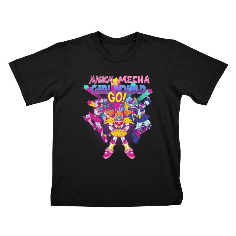 Magical Mecha Girl Squad Go! Kids T-Shirt by Bunny Robot Art