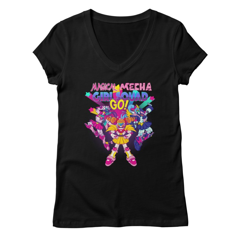Magical Mecha Girl Squad Go! Women's V-Neck by Bunny Robot Art