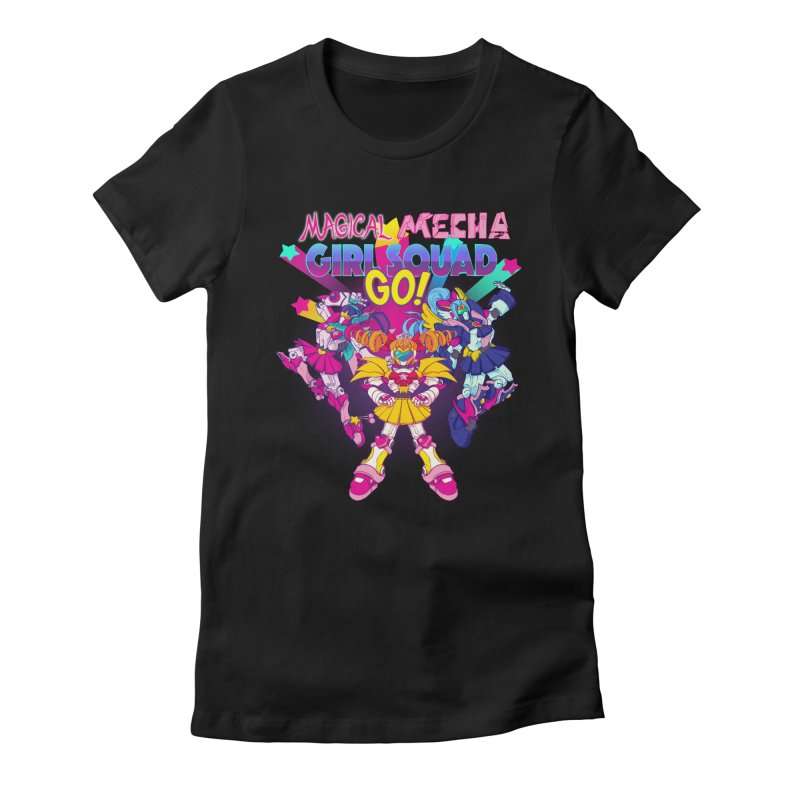 Magical Mecha Girl Squad Go! Women's Fitted T-Shirt by Bunny Robot Art