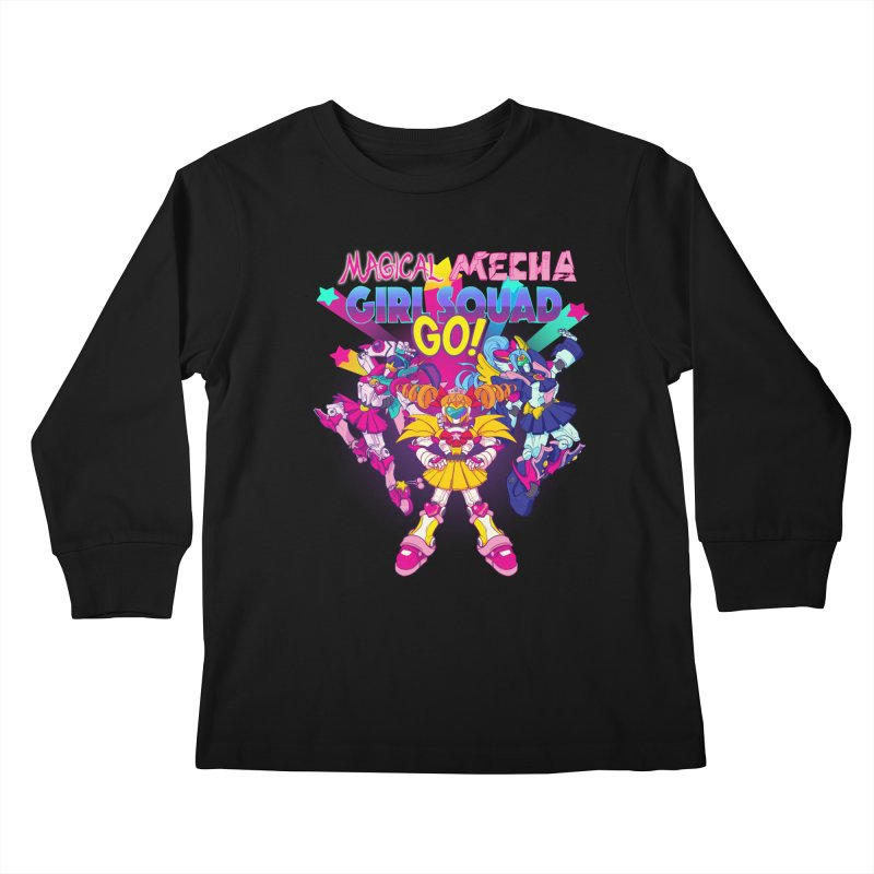 Magical Mecha Girl Squad Go! Kids Longsleeve T-Shirt by Bunny Robot Art