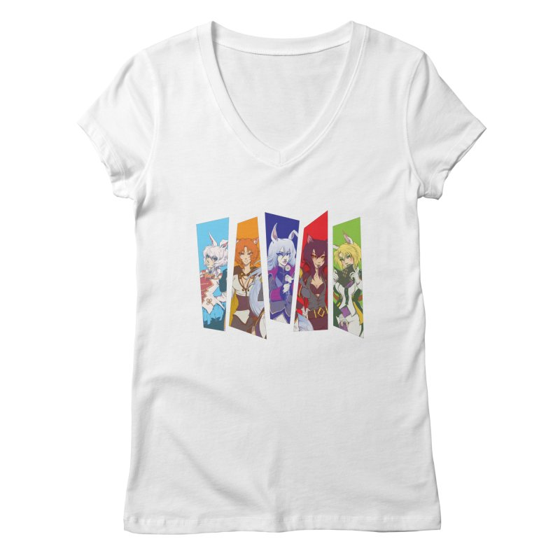 Cats and Rabbits Women's V-Neck by Bunny Robot Art