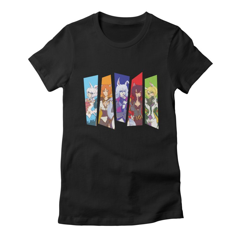 Cats and Rabbits Women's Fitted T-Shirt by Bunny Robot Art