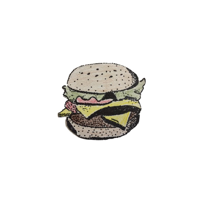 pointillism burger by burgers on t-shirts.