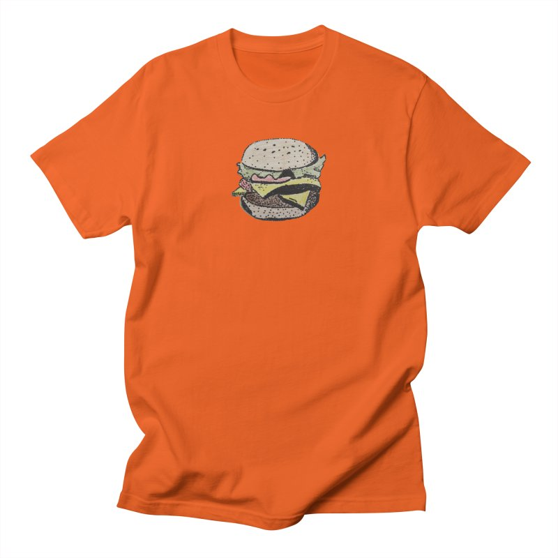Men's None by burgers on t-shirts.