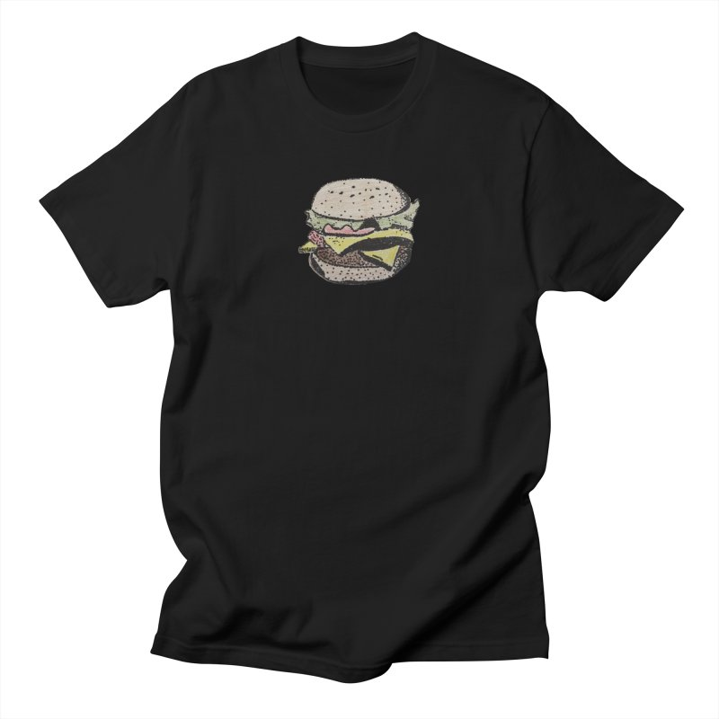 pointillism burger in Men's T-shirt Black by burgers on t-shirts.