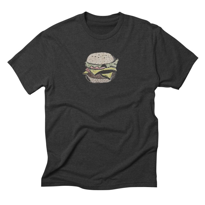 by burgers on t-shirts.