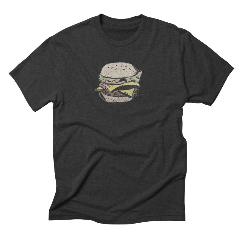 pointillism burger Men's Triblend T-shirt by burgers on t-shirts.