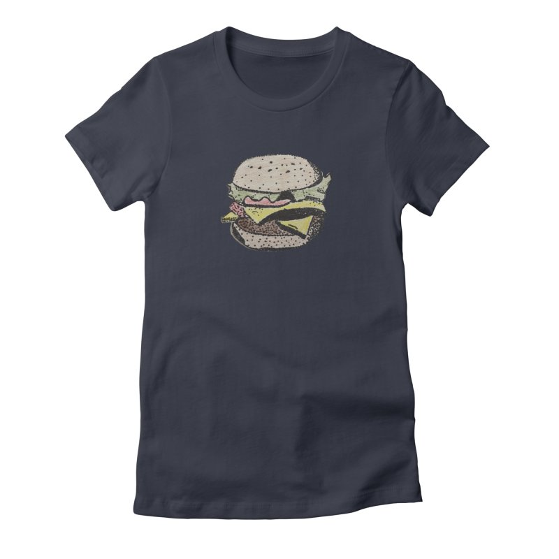pointillism burger Women's Fitted T-Shirt by burgers on t-shirts.