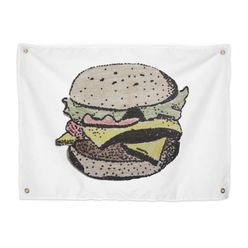 pointillism burger Home Tapestry by burgers on t-shirts.