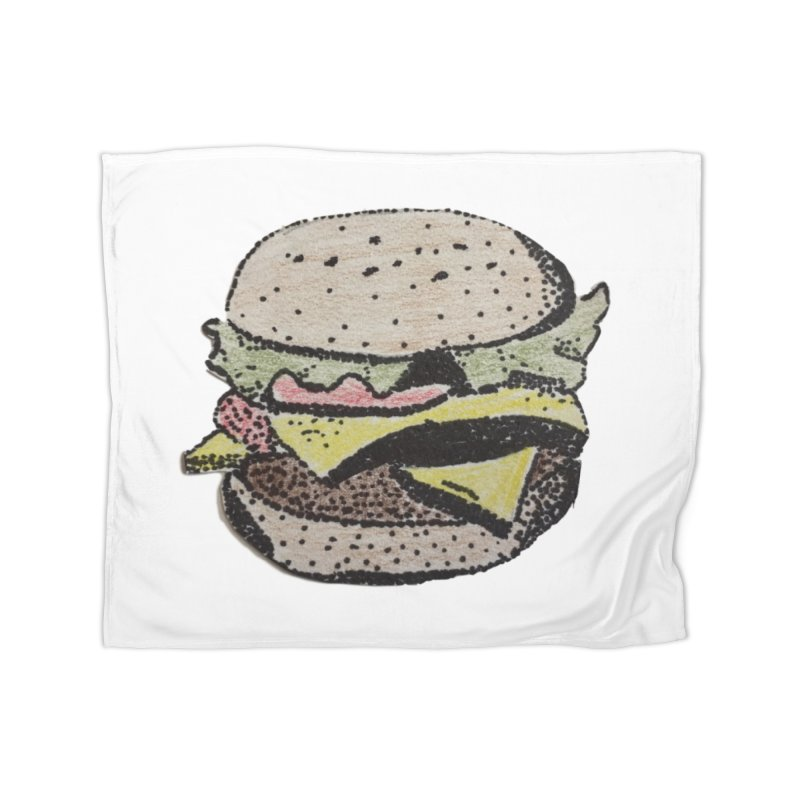pointillism burger Home Blanket by burgers on t-shirts.