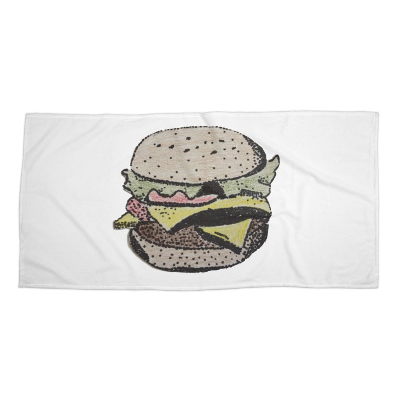 pointillism burger Accessories Beach Towel by burgers on t-shirts.